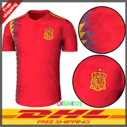 Wholesale Uniforms Dhl - 2018 Spain Soccer Jersey world cup Spain home red soccer shirt #7 MORATA #22 ISCO #20 ASENSIO Football Shirt uniforms wholesale FREE DHL