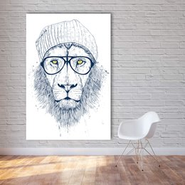 Wholesale cool abstract art - Modern Graffiti Art Wall Pictures For Living Room Cool Lion Illustrator Animal Painting Home Decor Printed No Frame