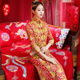 Китай новая вышивка онлайн-China Bride Qipao 2018 new embroidery dragon cheongsam long retro elegant cheongsam red chinese traditional wedding dress