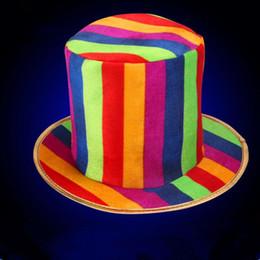 2019 clownkleider für frauen Erwachsene Frauen Männer Bunte Streifen Clown Zylinder Bühnen Performance Requisiten Cosplay Hüte Halloween Kleid Dekoration Party Weihnachten günstig clownkleider für frauen