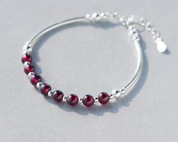 100% echt. 925 Sterling Silber Schmuck Runde 6MM natürliche rote Granat Stein Runde Perle Manschette Armband Armreif GTLS400 von Fabrikanten