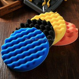 Wholesale tools for cleaning cars - 4Pcs 7inch(180mm) Buffing Polishing Sponge Pads Kit for Car Polisher Soft Wave Foam Waffle Pad Car Wash Cleaning Detailing Tool