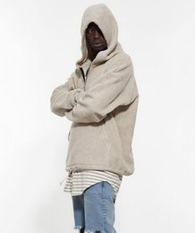Wholesale tyga hoodies - Wholesale- Men's Half Zipper Pullover Fleece Sherpa Hoodie Streetwear Cool Kanye West Fashion Hip Hop Urban Clothing Justin Biebers Tyga