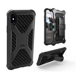Wholesale Iphone Plastic Holster - Armor Hybrid TPU PC Holster Rugged Dual Layer Carbon Fiber Pattern With kickstand Clip For iPhone X 7 plus Samsung S8 plus note 8 oppbag