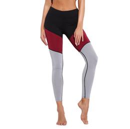 Legging apretado online-Tricolor stripe Sport Tights Mujeres Empalme de contraste Leggins Sport High Waist Legging legging femme # YL