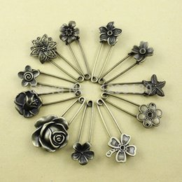 Wholesale Vintage Safety Pins - 11pcs lot Alloy Antique Brass Vintage Flower Brooch Safety Pins For Garment Accessories Scarf Clip pins Approx:54-57mm (K01934)