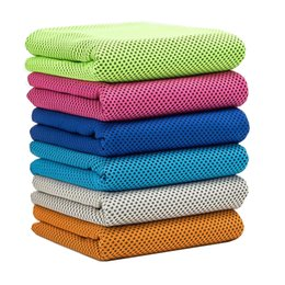 Wholesale Towelling Fabric Wholesale - 10 Colors Ice Cold Towel Double Layers Polyster Cloth Cool Sport Cooling Towels Fabric Print Cotton Towel Beach Towels Swimwear