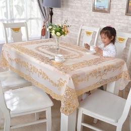 2019 großhandel runde tischdecken Tischdecke Wasserdicht Golddruck Rutschfeste Wärmedämmmatte PVC Quadrat Europäischen Stil Tischdecke Hause Tischdecken