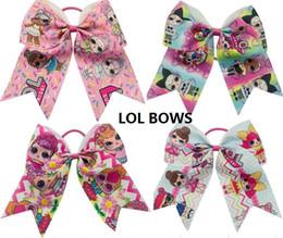 """Wholesale blue grosgrain ribbon - HOT SALE 7"""" Cartoon LOL Print GROSGRAIN RIBBON Hairbands Girls Cheer Bow Exquisite Scrunchies elastic Hair band Hair Accessories 15PCS"""