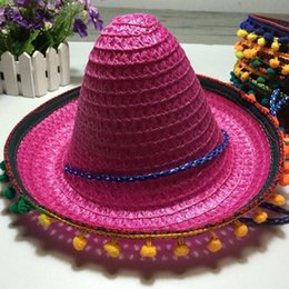 Argentina Estilo de verano Niños Sombreros de Paja Mexicanos Dance Performance Show Props Sombrero de Fiesta Kid Gift Fiesta de Halloween Vestido de Decoración Suministro