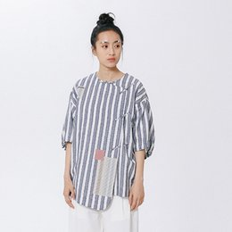 Wholesale Ladies Cotton Shirts Designs - Summer New Design Women Blouse Lady Short-sleeved Shirt Cotton Retro Chinese Style High-quality Stripe Print Letters Embroidered