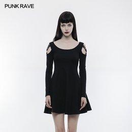 2018 Punk Rave Sexy gotico Visual kei casual nero Slim Dress steampunk  street style rock abbigliamento WQ346 e9d24836e682