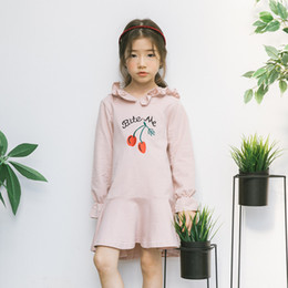 Wholesale Big Bite - Korean Big Girls Dresses Hoodede Dress Long Sleeve Bite Me letter With Caps Dress Ruffle Edge Girl's Sport Casual Dresses Pink A8436