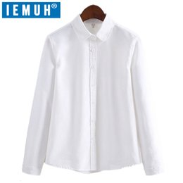 Wholesale Women S Office Wear Wholesale - Shirts Long Sleeve 2018 Spring Women Tops Casual Oxford Blouse Female V-Neck Work Wear Solid White Shirt Office Shirts For Women