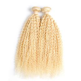2019 candeggiante per tessuto Brasiliana capelli crespi crespi 2 Bundles 100% Remy capelli umani Non-Remy 200g 613 Bleach Capelli biondi brasiliani fasci di tessuto candeggiante per tessuto economici