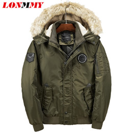 9468722743446 LONMMY Mens winter jackets and coats Hooded Parkas Male Casual waterproof  men parks fur Clothing Warm Coat Thicken Green black