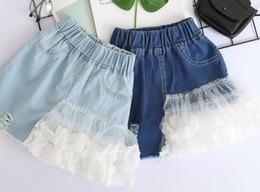 Wholesale New Fashion Jeans Kids - Girls jeans skirts summer children splicing lace gauze petals applique denim skirts fashion new kids hole cowboy princess skirts Y8055