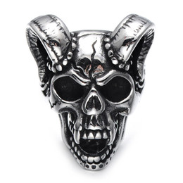 Wholesale Bone China Gifts - Lujoyce Punk Gothic Casting Evil Damn Vampire Goat Head Bone Ring Titanium Stainless Steel Skull Ring for Men Jewelry