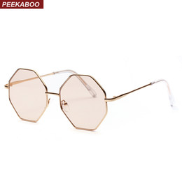 brown tinted sunglasses Promo Codes - Peekaboo big vintage polygon sunglasses female 2019 octagon tinted clear sun glasses for women men metal frame uv400