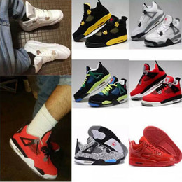 Wholesale rubber cement plastic - High Quality 4s Man ball Shoes White Pure Money Thunder Cement Fire Red Fear Black Cat Mens Women Outdoor Sports Shoes