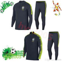 Wholesale Half Tights - AAA+2018 brazil soccer tracksuit training suit 18 19 neymar jr coutinho DANI ALVES MARCELO brazil long sleeve tight pants With half zipper