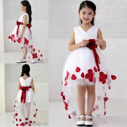 Wholesale Kids Elegant Dresses - Good Quality Elegant Asymmetrical V-Neck Hi-low Flower Girl Dress With Red Sash Kids Dresses For Weddings