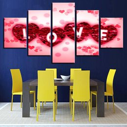 Wholesale Modern Canvas Art Roses Paintings - Free shipping New Art Portait Poster Wall Pictures 5 Pieces Rose Petals Love Heart Modular Canvas Painting Life Oil Living Room Home Decor