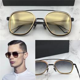 nouveau Promotion nouveaux hommes lunettes de soleil de styliste le système une série de lunettes de soleil en titane plaqué or 18K UV400 lentille un cadre carré de style vintage