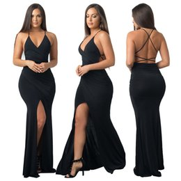 Wholesale knit halter - Cheap Explosive Sexy Black Dress Pure Halter Halter Split Party Dress Nightclub Woman Wardrobe Must Have Large Inventory