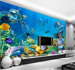 Wholesale Modern Nursery Pictures - 3d wallpaper custom photo non-woven mural The undersea world fish Children room painting picture 3d wall room murals wallpaper