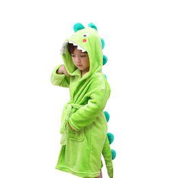 Wholesale cotton flannel nightgowns - Kids Plush Hooded Bathrobe - Dinosaur Owl Reindeer Flannel Robe For Boys Girls