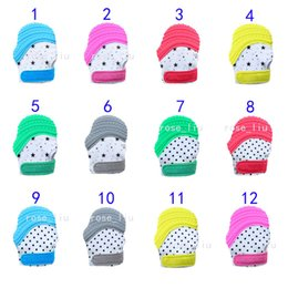 Wholesale newborn baby pacifiers - 12 Style Silicone Teether Baby Pacifier Glove Teething Glove Newborn Nursing Mittens Teether Chewable Nursing Beads for Infant Baby B