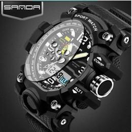 Wholesale Men S Watch Brands - G Style SANDA Clock Mens Watches Top Brand Luxury Waterproof Sports Digital Quartz Watches Men S Shock Relogio Masculino