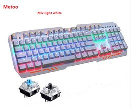Wholesale Blue Mouse Computers - Metoo ZERO Z11 Mechanical Keyboard mouse 104 keys Blue Switch LED Gaming Keyboard Anti-Ghosting for Tablet desktop Computer