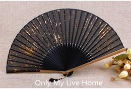 Wholesale China Gold Bamboo - Printed Gold dust Silver Powder Japanese Fan Traditional Craft Women Bamboo Folding Fabric Fan Chinese Hand Held Fans Gift