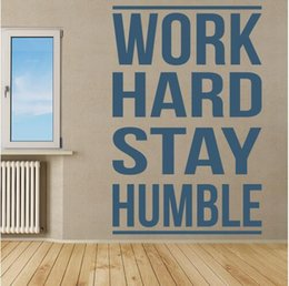 Wholesale Inspirational Quotes Wall Stickers - Free shipping Work Hard Stay Humble Inspirational Quotes Wall Sticker Home Art Decals Decor Gym, sports room wall stickers decoration