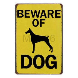 Wholesale room plaques - [ Mike86 ] Beware Of DOG Metal Sign Home Hotel Wall Painting Plaque Room Street Public Decor FC-3010