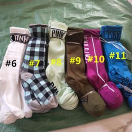 Wholesale Knee Socks For Women - Pink Letter Knee High Socks Love Pink Long Socks Sports Football Cheerleaders Cotton Sock Winter Fashion Stockings for Women Girls 2018