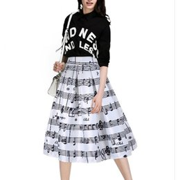 Wholesale Gown Music - Skirts Women 2018 Autumn Winter High Waist Midi Lenght Ball Gown A-Line Skirt Music Note Print Slit Elegant Womens Office Lady