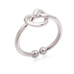 Wholesale knot ring gold - Wholesale- Gold Silver Black Heart Open Rings Hollow Knot Ring Women Fashion Midi Knuckle Mid Finger Jewelry Adjustable Accessories