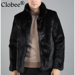 Wholesale plus size rabbit fur jackets - New arrival Outwear Plus Size 2017 Men Casual Faux Fur Coats Thicken Winter Warm Male Faux Rabbit Fur Jackets Overcoats WR648