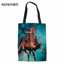 plain white eco bag Coupons - INSTANTARTS Cool 3D Animal Crazy Horse Print Cotton Shopping Bags for Teen Girls Casual School Student Cloth Bag Folding Eco Bag
