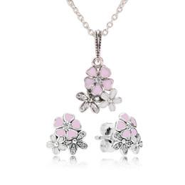 Wholesale Earring Box Set - Original 925 Sterling Silver Pink Enamel flower Pendant Necklace Earring Set with box Fit Real Silver Pandora Jewelry Womens Earrings