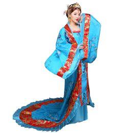Roupas senhoras chinesas on-line-Hanfu Mulheres Roupas Étnicas Tradicionais Real Senhora Chinês Vestido de Palco Azul Hanfu Cosplay Asiático traje nacional Traje Chinês Antigo