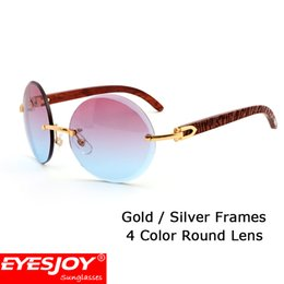Wholesale Box Color Pattern - Brand Designer Sunglasses Rimless Round Gradient Lens Classic Pattern Red Wood Gold Frames Womens Glasses Sunglasses for Men With Box