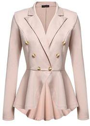 Wholesale womens office jacket - 2017 Fashion Slim Fit Women Blazer Jackets Womens White Blue Ladies Blazer Office Jacket EleFemale Solid Button Plus Size