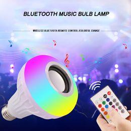 Wholesale Bulb Desk Lamp - Wireless Remote Control Ball Light Bluetooth Music speaker LED Bulb Emergency Colorful Music Lamp Bulb Dance Desk Lamp