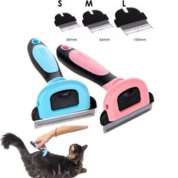 tagliatrici per i gatti Sconti Pettine Grooming Pet Pettine Spargimento Rastrello Strumento Pink Blue staccabile Clipper per Cane Cat Hair Removal Fur AAA826