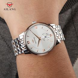 Oros maduros online-AILANG Diseñador de la Marca de Relojes de pulsera Masculinos Oro Rosa Plata Dial Transparente Hombres Maduros Trabajo de Negocios Trabajo Fino Reloj A011