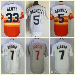 Azul y naranja online-Barato Retro Houston Jersey 5 Jeff Bagwell 33 Mike Scott 7 Craig Biggio Blanco Azul Naranja BP cosido MN Vintage Baseball Jerseys